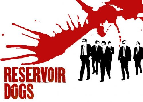 1990's Movie - RESERVOIR DOGS - WHITE BLOOD SPLASH / canvas print - self adhesive poster - photo